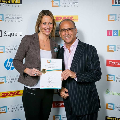 Kate Taylor with Theo Paphitis