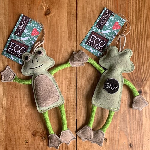 Green and Wilds Dog Toys Frog